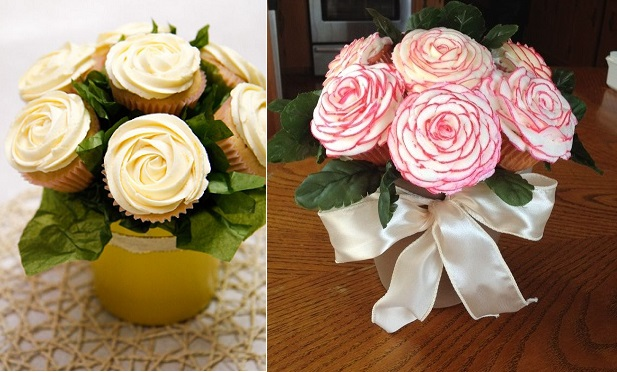 Cupcake Bouquets by Natventures on Tumblr.com (left) and Cupcakes by Leeann (right)
