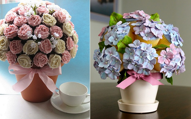 Cupcake bouquets by Little Cakes on Flickr (left) and CakeWrecks.com (right)