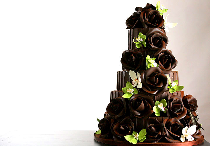 Spring wedding cake in chocolate with green orchids by robineau.co. uk