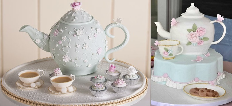 Teapot cakes by Fiona Cairns (left) and Slice (right)