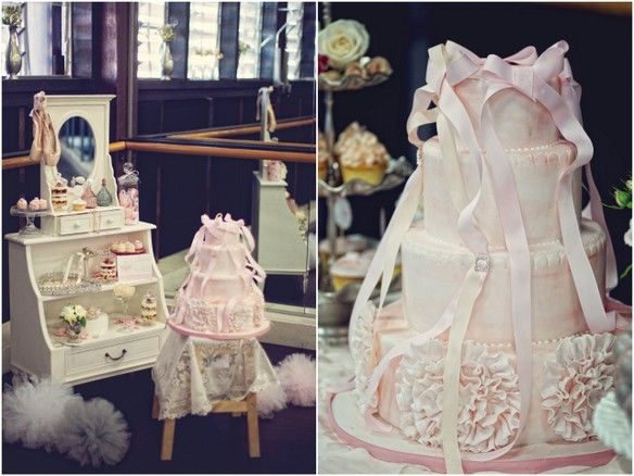 fondant ruffles cake for a ballerina party by Sweet Bloom Cakes via TomKat Studio with styling by My Little Jedi