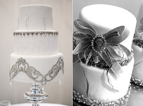 jewelled wedding cakes by The Butter End Cakery (left) and Le Cupcake's Kylie Lambert (right)