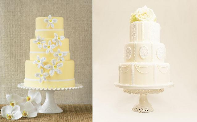 Lemon Coloured Wedding Cakes