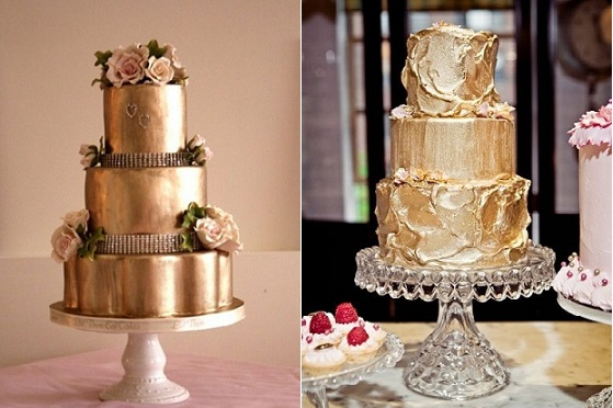metallic gold cake by Let Them Eat Cakes (left) and from Style Me Pretty (right) with photo by Heather Waraksa