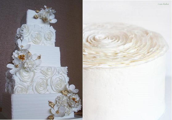 ruffle rose cake by Anna Elizabeth Cakes (left) and ruffle rose cake top by the  I Am Baker blog (right)