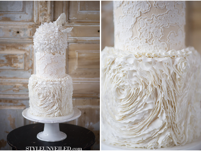 ruffle rose wedding cake lace and ivory by The Rooney Girl Bakeshop via Style Unveiled