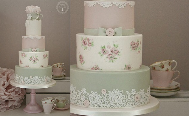 vintage roses and lace wedding cake by Cotton & Crumbs UK