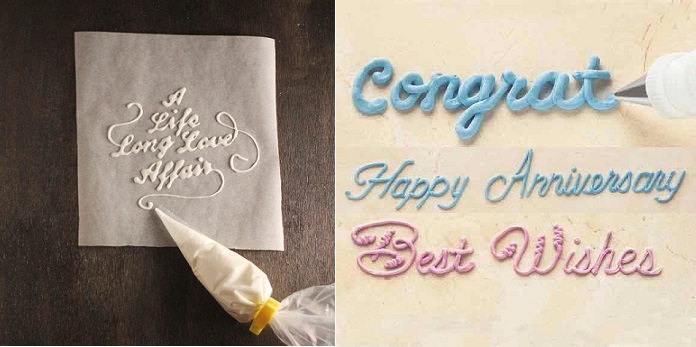 writing in icing typography via NewGrids.fr left and writing in icing example by Wilton right