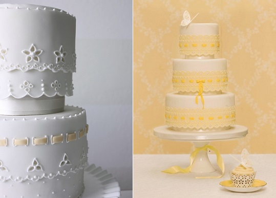 Broderie Anglaise or Eyelet Lace wedding cakes by Petal and Posie Cakes (left) and Zoe Clark of The Cake Parlour (right)