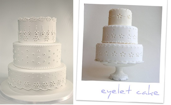 Broderie Anglaise or Eyelet Lace wedding cakes from Pinterest (left) and by Petit Gateau Couture Cakes (right)