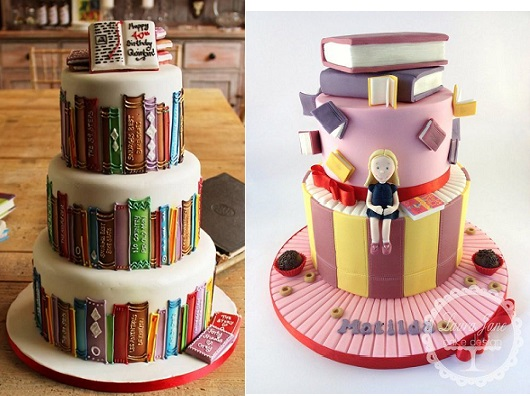 book cakes for book lovers and book worms by Biscuiteers (left) and by Laura Jane Cake Design via CakesDecor (right)