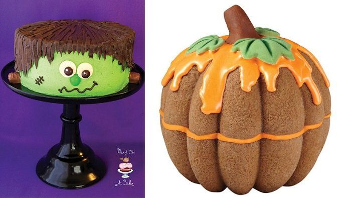 halloween cakes Frankenstein Monster Cake from Bird on Cake Bakery and bundt cake Pumpkin  cake by Wilton