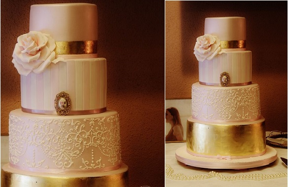 metallic gold wedding cake by Sweet Perfection AU