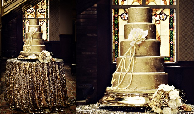 metallic gold wedding cake for Gatsby style wedding vintage 1920's image via Pinterest