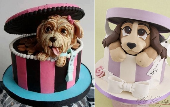 Puppy dog cakes from  (left) and from Little Cherry Cake Company (right)
