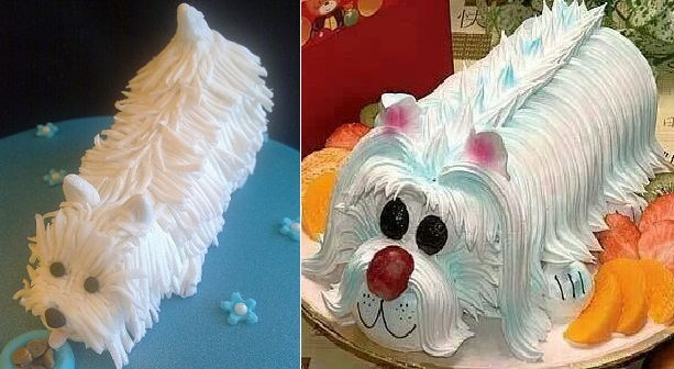 Westie dog cake by Creations by Paula Jane Cakes (left) and from Pinterest (right)