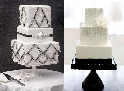 Winter Wedding Cakes by Brooklyn Cake (left) and Sweet and Saucy Shop (left)
