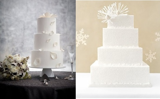 Winter Wedding Cakes from D'Ellisious Cake Studio of Aspen (left) and image on right from Pinterest