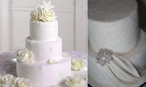 Winter Wedding Cakes with sparkling snow effect (Images from Pinterest and Juxtapost)