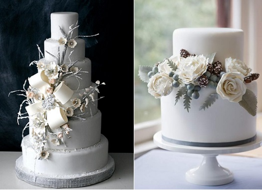 Winter Wedding cakes in grey and cream by The Caketress (left) and Erica O'Brien (right)