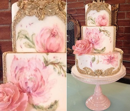baroque style gilded frame cake with handpainted roses by Nadia & Co..jpg