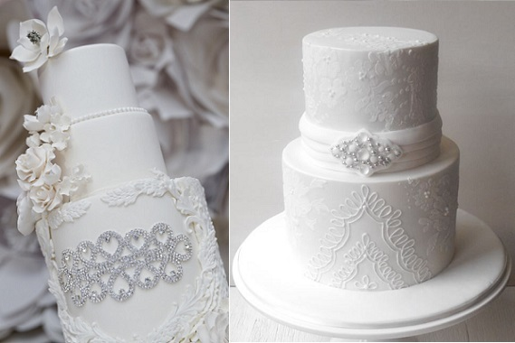 jewelled wedding cakes from Swell weddings.com via Style Me Pretty  left and by Everyone's Cakes via CakesDecor right