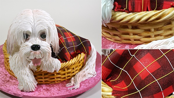 puppy dog in basket cake tutorial by Yener's Way