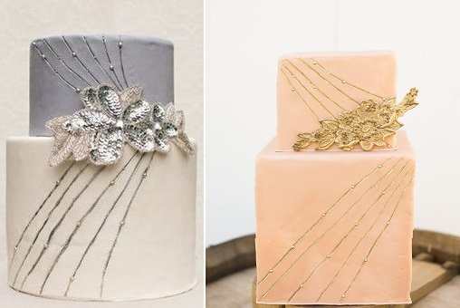 vintage silver wedding cake and vintage gold wedding cake via Indulgy left and by Cupcakes Couture of Manhattan Beach via Inspired By This right
