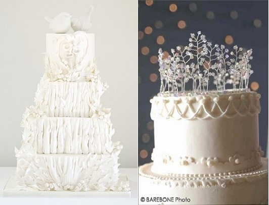 winter forest wedding cakes by Cakes by Krishanthi (left) and from Pinterest (right)