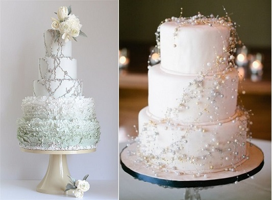 winter wedding cake by Maggie Austin with sugared pearl detailing (left) and winter wedding cake by We Are Weddings (right)