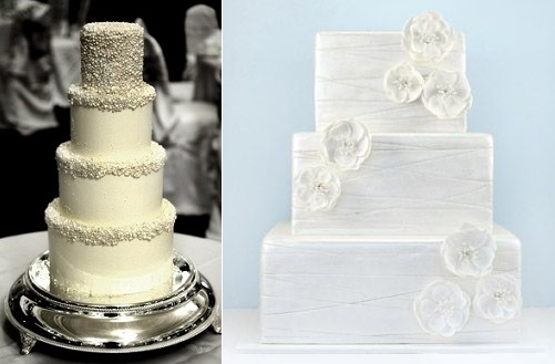winter wedding cakes from fashionable bride.com (left) and right, from Eat Cake Be Merry via Brides.com