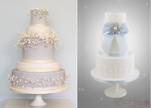 winter garden wedding cake by Rosalind Miller left, winter blue wedding cake by The Little Cherry Cake Company right