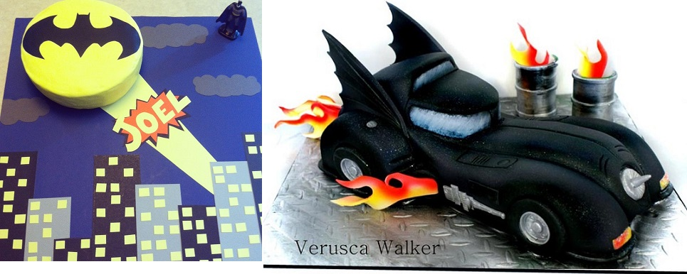Batman car tutorial for Dark Knight Cake by Verusca Walker via Cakes Decor (right) and Batman cake via Pinterest (left)