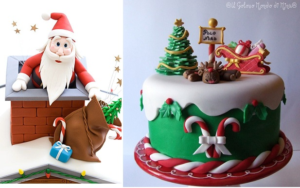 Christmas cake decorating ideas from Baking Obsession.com (left) and  Il Goloso Mondo di Minu (right)