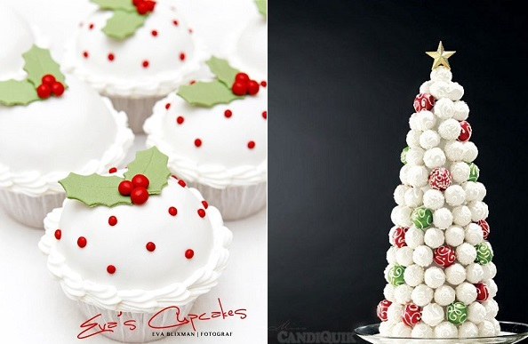 Christmas cupcakes from Eve's Cupcakes (left) and Cake Pop Christmas Tree tutorial from Miss CandiQuik.