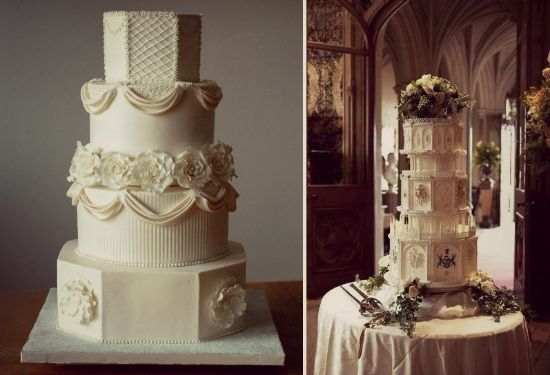 Downton Abbey wedding cake design by Creative Cake Designs (North Carolina) left and from the wedding cake from the TV series right