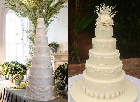 Downton Abbey wedding cake designs by Elizabeth's Cake Emporium left and Bellissimo Cakes UK right