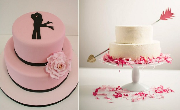 Engagement cakes from Pinterest (left) and from the Hostess With The Mostest Blog (right)