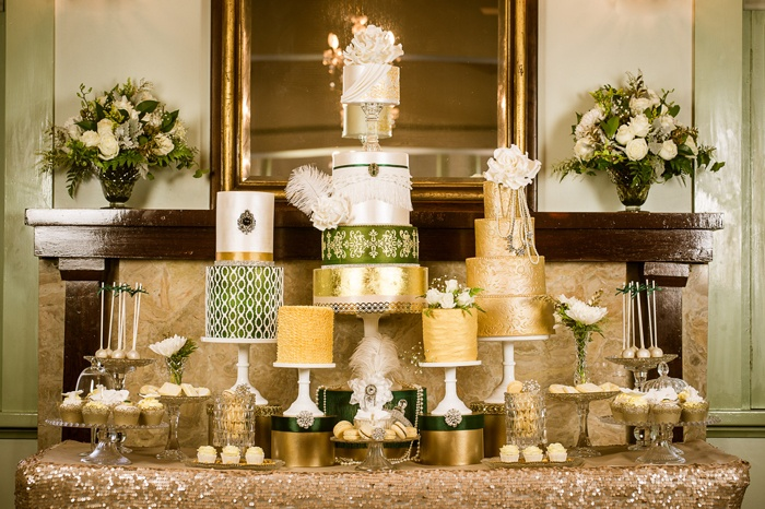 Gatsby theme wedding cakes for 1920's vintage wedding by Wild Rose Sweets & Styling via Amy Atlas blog