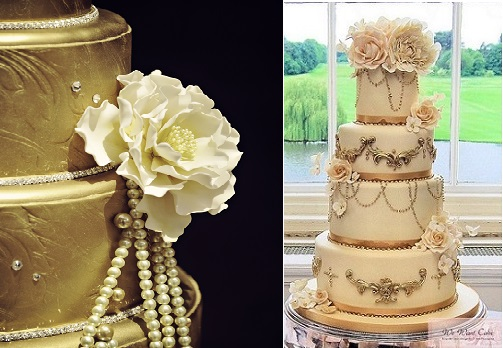 Gatsby theme wedding cakes via One Wed left and by We Want Cake UK right