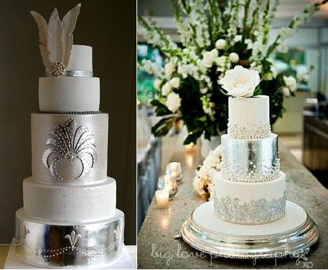 Gatsby theme wedding cakes with art deco design-by-Flutterby-on-Cakes-Decor-left-and-via Diana Marie Events right  and Big Love Photography