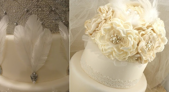 vintage feather wedding cakes Gatsby style by The Fondanista Files (left) and from by Solbijou on Etsy (right)