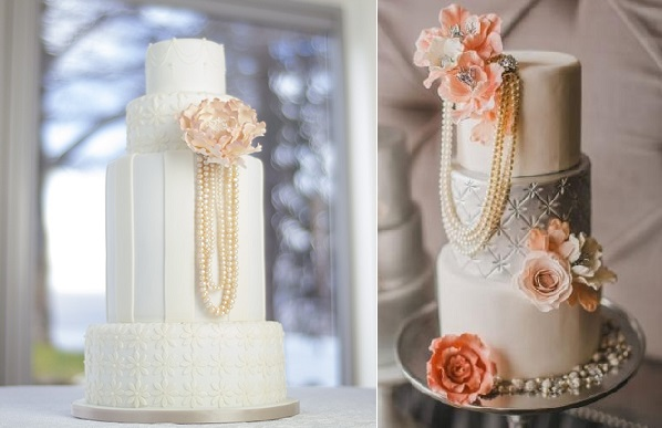 Gatsby wedding cake 1920's wedding cake vintage pearl wedding cake by Paul Bradford of designer-cakes.com left and by The Caketress right