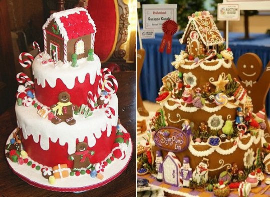 Gingerbread house cake toppers on tiered christmas cakes from Pinterest left and from Cinncy Houses of Hope.com(right).