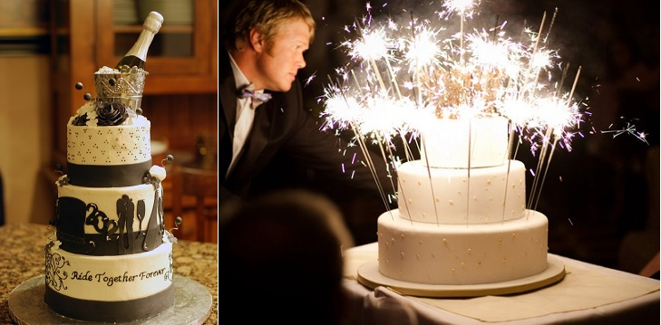 New Year's Eve cakes by JHewitt on Cake Central.com and sparkler-wedding-cake (Image Peony Events Company)