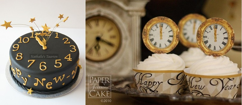 New Year's Eve clock cake by Nathalie's Taarten via Mjam Taart and NYE cupcake toppers by Paper Scissors Cake