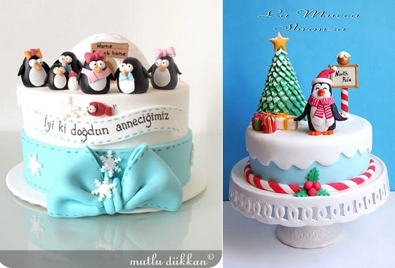 Penguin christmas cakes by Mutlu Dukkan (left) and from Pinterest (right)