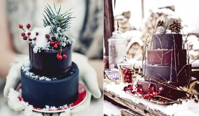 Rustic-winter-chocolate-wedding-cakes