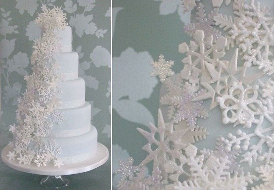 snowflake wedding cake by Makiko Searle of Maki's Cakes, UK