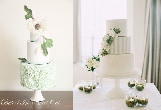 Spring Wedding Cakes by Baked In Baked Out (left) and Cake Ink (right)